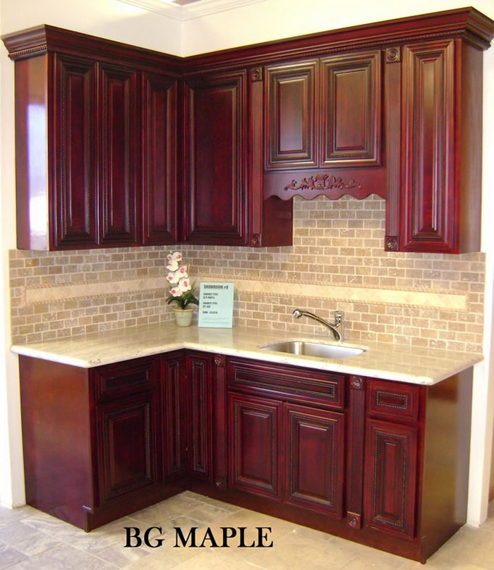 BURGENDY GLAZE MAPLE-KITCHEN CABINET-marble Oakland